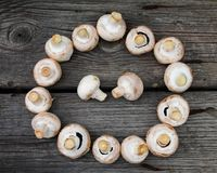 Mushroom on cutting board - Kitchen work royalty free stock image