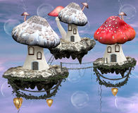 Mushrooms magic town. A surreal and magic illustration: a very detailed mushrooms town Stock Photography