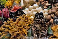 Mushrooms. Mushroom stall in the Boqueria market, Barcelona Royalty Free Stock Photography