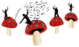 Mushrooms and music Royalty Free Stock Photos