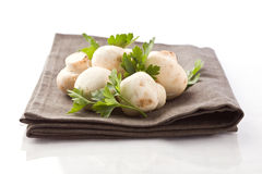Mushrooms on napkin with parsley Stock Photos