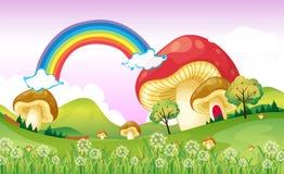 Mushrooms near the rainbow. Illustration of mushrooms near the rainbow Royalty Free Stock Photo
