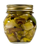 Mushrooms in oil. Can of mushrooms preserved in oil Royalty Free Stock Image