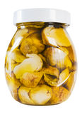 Mushrooms in oil. Italian mushrooms preserved in olive oil - traditional home made vegetables preparation Stock Photo