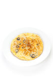 Mushrooms olives and potatoes omelette. Typical Spanish cuisine Royalty Free Stock Photography