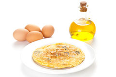 Mushrooms olives and potatoes omelette Royalty Free Stock Image