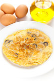 Mushrooms olives and potatoes omelette Royalty Free Stock Photography
