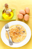 Mushrooms olives and potatoes omelette Stock Photography
