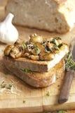 Mushrooms On Toast Stock Photo