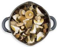 The mushrooms in the pan. Before cooking Royalty Free Stock Image