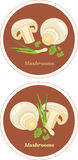 Mushrooms with parsley and chives. Icons for menu design. Illustration Royalty Free Stock Image