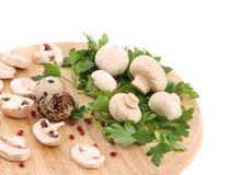 Mushrooms and parsley on platter. Stock Photography