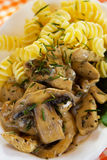 Mushrooms with pasta. Portabello or champignon mushrooms with chicken meat and pasta Royalty Free Stock Photography
