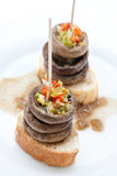 Mushrooms with pepper tapa stock images