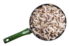 Mushrooms are pieces in a skillet Royalty Free Stock Photography