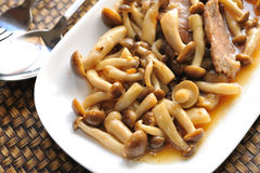 Mushrooms with pork. Stock Photos