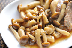 Mushrooms with pork. Royalty Free Stock Photo