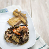 Mushrooms with prawns Stock Image