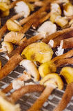 Mushrooms prepared for drying Royalty Free Stock Images