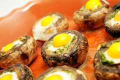 Mushrooms with quail`s eggs Royalty Free Stock Photos