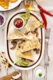Mushrooms quesadilla. Mexican food Royalty Free Stock Image