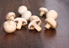 Mushrooms. Raw mushrooms on the table Royalty Free Stock Photos