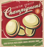 Mushrooms, retro poster design. Vintage poster design for premium quality mushrooms. Retro label concept for champignon Vector Illustration