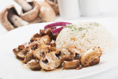 Mushrooms with rice Royalty Free Stock Image