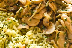 Mushrooms and rice. Close-up of mushrooms and rice cooked stock photos