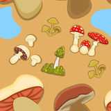 Mushrooms seamless background Royalty Free Stock Photo