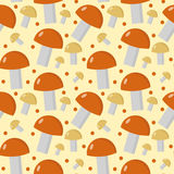 Mushrooms seamless pattern. Boletus edulis endless background, texture. Vegetable . Vector illustration Royalty Free Stock Image
