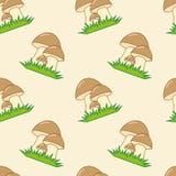 Mushrooms seamless texture. Butter mushrooms on green grass on the sandy background. Seamless texture Stock Photo
