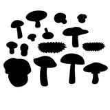 Mushrooms set 003. Mushrooms silhouette  black set 003 Stock Images