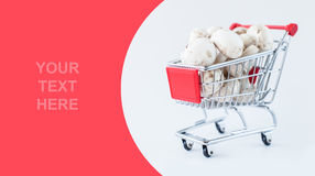 Mushrooms in shopping cart Stock Photos