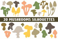 20 Mushrooms Silhouettes various design set royalty free illustration