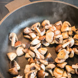 Mushrooms in a skillet Royalty Free Stock Photo