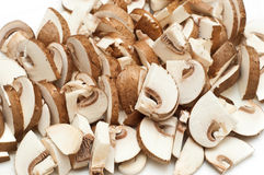 Mushrooms sliced on white Royalty Free Stock Photography