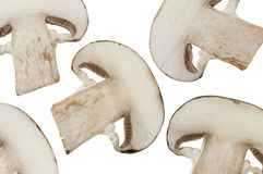 Mushrooms slices isolated over white Stock Images