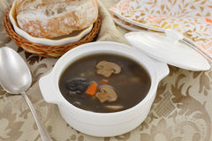 Mushrooms soup in white bowl Royalty Free Stock Photos