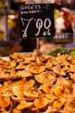 Mushrooms at a stand in the Boqueria Market, in Barcelona, Spain. Stock Photos