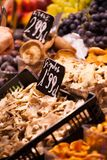 Mushrooms at a stand in the Boqueria Market, in Barcelona, Spain. Royalty Free Stock Photos
