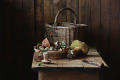 Mushrooms. Still life with mushrooms and basket Royalty Free Stock Image