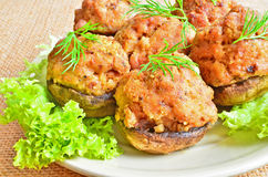 Mushrooms stuffed with meat Royalty Free Stock Photo