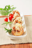 Mushrooms stuffed with minced meat Stock Photography