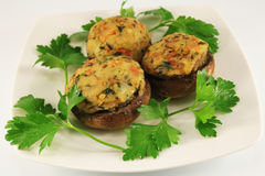 Mushrooms stuffed with potatoes Stock Photo
