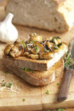 Mushrooms on toast. Garlicky mushrooms with thyme on toasted sourdough stock photo