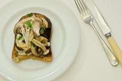 Mushrooms on toast Stock Photography