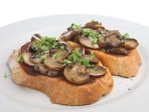 Mushrooms on Toast Royalty Free Stock Photos