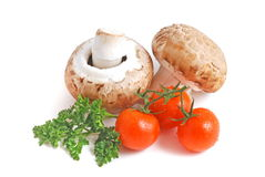 Mushrooms and tomato Stock Image