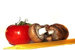 Mushrooms, tomato and spaghetti Stock Photography